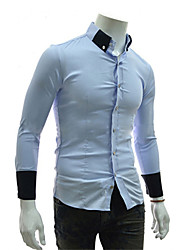 Brother New Korean Causal Slim Long Sleeve Shirt 8676(white,navy blue,light blue)