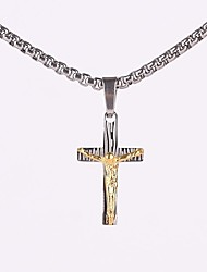Z&X®  Punk Vintage Cross Titanium Steel Pendant Men's Necklace (Golden, Silver)