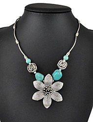 Tibetan Silver Flower Pendant Necklaces Chic Turquoise Necklace