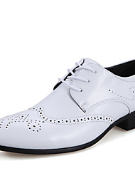 Men's Spring / Summer Pointed Toe Leather Wedding / Office & Career / Casual / Party & Evening Lace-up Black / Brown / White