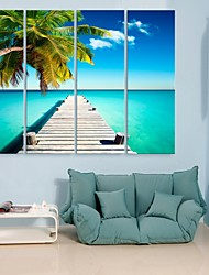 Personalized E-HOME® Canvas Print The Seaside Scenery 24x70cm 30x90cm Framed Canvas Painting Set of 4