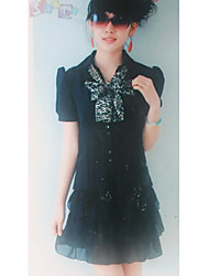 Fashionable Lapel Collar Single Breast Blouse Black