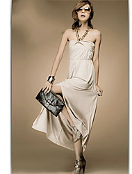 Charming Solid Color Chain Halter Vent Maxi Dress Apricot