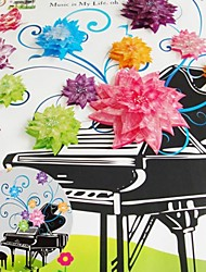 3D Wall Stickers Wall Decals, Romantic Flower Rattan on The Piano PVC Wall Stickers