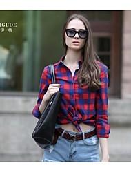 stile ricamare distintivo camicia a quadri slim fit britannico delle Veri gude® donne