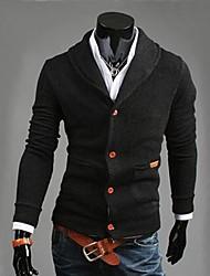 Court Cardigan Homme Décontracté / Quotidien Travail HabilléesCouleur Pleine Manches Longues Coton Polyester