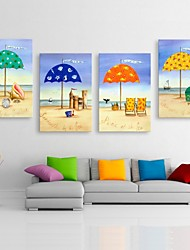 Personalized E-HOME® Canvas Print Beach Sunshade 35x50cm 40x60cm 50x70cm Framed Canvas Painting Set of 4