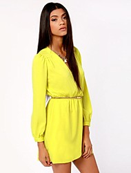 Women's V Neck/Surplice Neck Sexy Mini Dress , Chiffon Green/Yellow