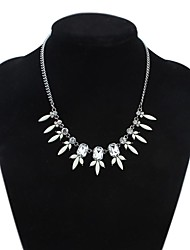 Women's Clearance Flowers Squares Cluster Bib Statement Necklace