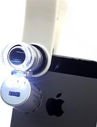 microscopio más pequeño del joyero 60x 2 llevó el mini microscopio de bolsillo joyero lupa con el clip para el teléfono móvil
