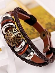 fa&q alliage multicouche bracelet en cuir à la main