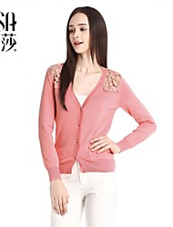 OSA ® 2014 New Winter Hot Sale Women's V-neck Long Sleeve Splice Lace Pierced Sexy Single Breasted Knit Cardigan
