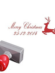 Personalized 33x63mm Christmas Elk Deer Style 2 Lines Rectangle Engraved Photosensitive Signet Stamp(within 14 Letters)