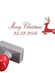33x63mm personalizada alces ciervos de la Navidad del estilo 2 líneas rectángulo grabado el sello sello fotosensible (a menos de 14 letras)