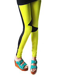 All Match Colorful Patch Embellished Elastic Skinny Pants Yellow