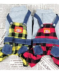 Cat / Dog Coat / Pants Red / Yellow Dog Clothes Winter Plaid/Check