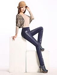 Frauen dünn Patchwork PU-Hosen (weitere Farben)