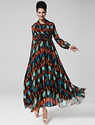 Women's Sexy / Casual / Party / Maxi Print / Geometric Swing Dress , Crew Neck Maxi Chiffon