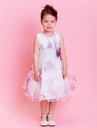 A-line/Princess Knee-length Flower Girl Dress - Organza Sleeveless