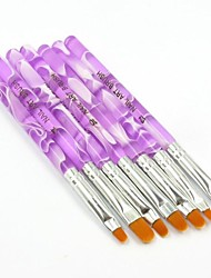 7PCS Lovely  Acrylic UV Gel Brush Nail Art Painting Brush Set for Gel Nail