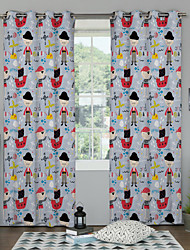 Designer Two Panels Geometric Cartoon Kids Room Polyester Panel Curtains Drapes