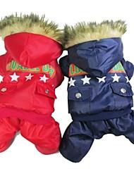 Коты / Собаки Плащи Красный / Синий Одежда для собак Зима Полиция/армия