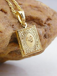 18k oro placcato allah musulmano libro ciondolo