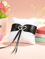 Small Ring Pillow In White Satin With Black Sash