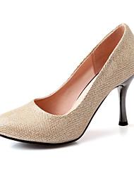 DamenKleid-Kunstleder-Stöckelabsatz-Absätze-Rot / Silber / Gold