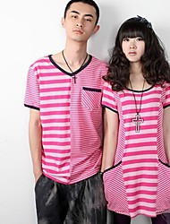 New Arrival Korea Love's Stripe Pockets Two Pieces Suits Pink