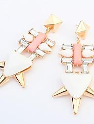 Women's Punk Fancy Geometric Beads Cluster Drops Stud Earrings