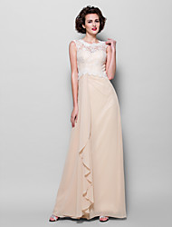 Lanting Bride® Sheath / Column Plus Size / Petite Mother of the Bride Dress Floor-length Sleeveless Chiffon / Lace with Lace
