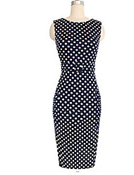 Bela Women's European Temperament Slim Waisted Dots Sleeveless Dress