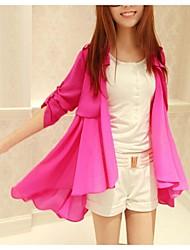 Women's Solid Blue/Pink/Black Asymmetrical Long Sleeve