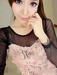 Sweet Solid Rose Yarn Design Long T-shirt