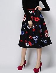 Women's Red/White Skirts , Casual Knee-length