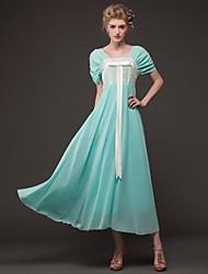 Women's Pink/White/Green Dress , Vintage/Lace Short Sleeve