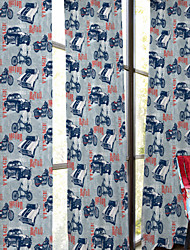 Cartoon Style Bikes and Cars Curtain (Two Panels)