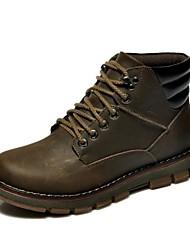 Sapatos Masculinos Botas Marrom / Taupe Couro / Couro de Gado Casual