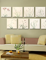 Personalized Canvas Print Plain Coloured Flowers 30x30cm Framed Canvas Painting Set of 8