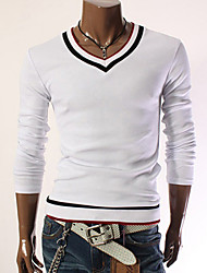 Men's Contrast Color Slim Long Sleeve T-shirt