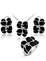 Schmuckset Krystall Blattform Halsketten Ohrringe Ringe Für Hochzeit Party Normal Hochzeitsgeschenke