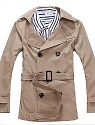 Men's Long Sleeve Regular Trench coat , Cotton