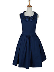 Sleeveless Knee-length Dark Blue Cotton Classic & Gothic Lolita Dress