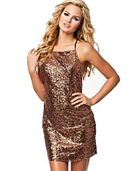 Women's Solid Blue/Green/Gold Dress , Sexy/Party Halter Sleeveless