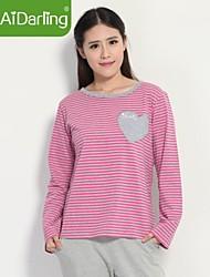 aidarling amour coton rayé à long habit de pyjamas vêtements de la maison des femmes