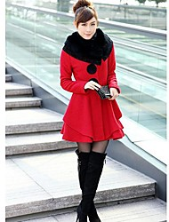 Luoxi Women's Winter Fur Collar Long Warm Coat