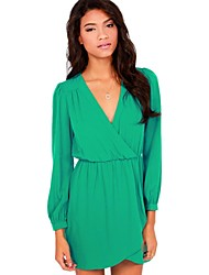 Women's Casual/Daily Loose Dress,Solid Surplice Neck Mini Long Sleeve Green / Yellow Spring / Summer / Fall