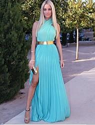 Women's Blue/Pink Halter Criss-Cross Maxi Dress, Chiffon Sleeveless