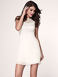 pura vestido branco skater rendas queridos das mulheres amante com saia plissada
